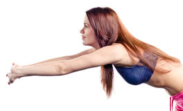 Young girl does gymnastics Royalty Free Stock Images