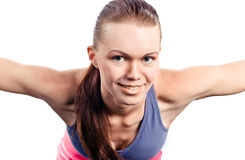 Young girl does gymnastics Stock Photo