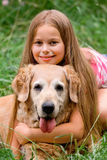 Young girl and dog Stock Photos