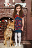 Young girl with dog Stock Photo