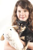 Young girl with dog and sheep. Young girl with a chihuahua dog and stuffed animal sheep lamb as her best friends Stock Photos