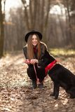 Young girl with a dog walking in the autumn park. Girl has a beautiful black hat stock image