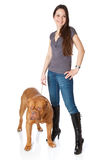 Young girl with  Dogue de Bordeaux Royalty Free Stock Photography