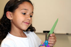 Young Girl Doing Crafts Stock Photo