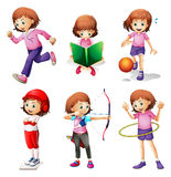 A young girl doing different activities. Illustration of a young girl doing different activities on a white background Royalty Free Stock Photography