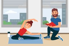 Young girl doing exercise sitting on floor. Coach writing notes in folder. Fitness gym interior with big windows. Flat. Young girl doing exercise sitting on vector illustration