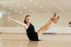 Young girl  doing exercises in a dance class Stock Photo