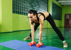 Young girl doing fitness exercise Royalty Free Stock Photography