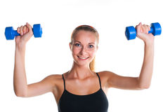 Young girl doing fitness exercises Stock Photo
