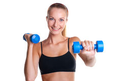 Young girl doing fitness exercises Stock Image