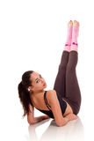 Young girl doing a fitness exercises Stock Photo