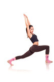 Young girl doing a fitness exercises Stock Photos