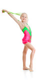Young girl doing gymnastics over white background Stock Image