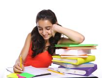 Young girl doing her homework Royalty Free Stock Photography