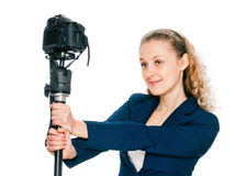 Young girl doing her self-portrait Stock Images