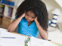 Young Girl Doing Homework Royalty Free Stock Photo