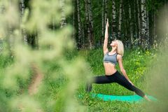 Young girl doing yoga in a birch-tree grove view Royalty Free Stock Image