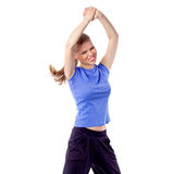 Young girl doing zumba fitness. Cheerful happy woman dancing with arms raised. Energetic, Active Caucasian model enjoy aerobics/ fitness. Isolated on white Stock Images