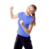 Young girl doing zumba fitness. Dance mix woman doing fitness in studio. Athletic, energetic dancer in motion.  Isolated on white background Stock Photos
