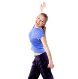 Young girl doing zumba fitness. Fresh energetic female doing aerobics dance. Fitness trainer with hand raised, happy smiling.   Isolated on white background Stock Photography