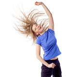 Young girl doing zumba fitness. Pretty young woman dancing fitness, isolated on white. Energetic and happy teacher enjoy aerobics with disheveled hair and arm Stock Image