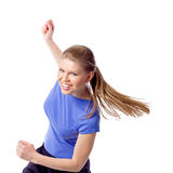 Young girl doing zumba fitness. Smiling young female fitness instructor during dance class. Sporty and joyful woman doing aerobics dance in studio. Weight loss Royalty Free Stock Images