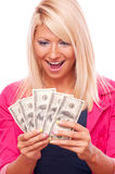 Young girl with Dollars Royalty Free Stock Image