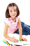 Young girl draw Stock Images