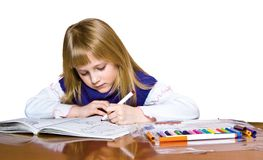 Young girl drawing Stock Photos