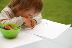 Young Girl Drawing Stock Photos
