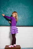 Young girl drawing on chalkboard Royalty Free Stock Image