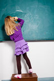 Young girl drawing on chalkboard Royalty Free Stock Photography