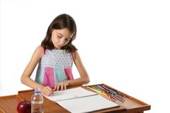 Young Girl Drawing with Pencils Royalty Free Stock Image
