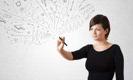 Young girl drawing and skteching abstract lines Stock Photo