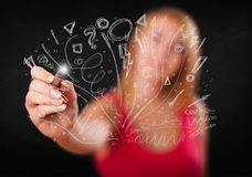 Young girl drawing and skteching abstract lines Royalty Free Stock Images