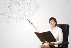 Young girl drawing and skteching abstract lines Royalty Free Stock Image