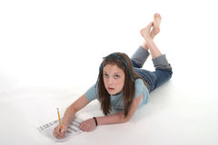 Young Girl Drawing and Writing 2 Royalty Free Stock Image