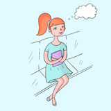 Young girl dream with book color vector Royalty Free Stock Image