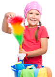 Young girl is dressed as a cleaning maid Royalty Free Stock Images