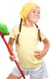 Young girl is dressed as a cleaning maid Stock Image