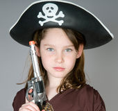 Young girl dressed as pirate Royalty Free Stock Photo
