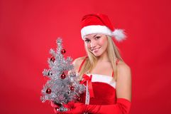 Young girl dressed as Santa Claus Royalty Free Stock Photography