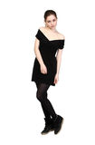 Young girl dressed in casual black dress Stock Photo