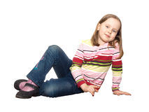 Young girl dressed jeans isolated white Stock Photography