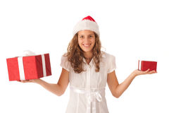 Young girl dressed like Santa Royalty Free Stock Photography