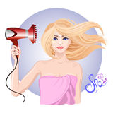 Young girl dries hair the hair dryer royalty free illustration