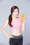 Young girl drink orange juice Stock Photo