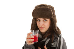 The girl is drinking a glass of medicine Stock Photos