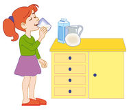 Young girl drinking milk stock illustration