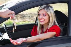 Young girl driving Royalty Free Stock Images